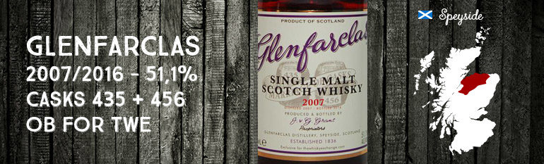 Glenfarclas – 2007/2016 – 51,1% – Casks 435 + 456 – OB – for The Whisky Exchange