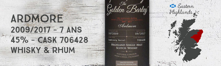 Ardmore – 2009/2017 – 7 ans – 45% – Cask 706428 – Whisky & Rhum – The Golden Barley