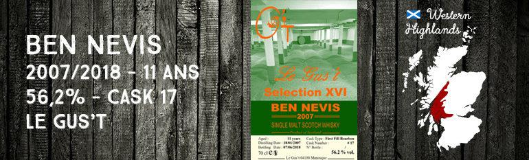 Ben Nevis – 2007/2018 – 11 ans – 56,2% – Cask 17 – Le Gus't – Selection XVI