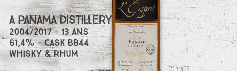 A Panama Distillery – 2004/2017 – 13 ans – 61,4% – Cask BB44 – Whisky & Rhum – L'esprit – Panama