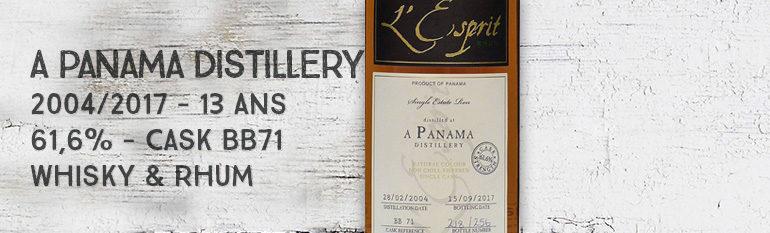 A Panama Distillery – 2004/2017 – 13 ans – 61,6% – Cask BB71 – Whisky & Rhum – L'esprit – Panama